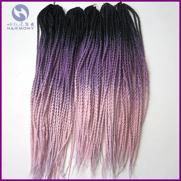 FREE SHIPPING 10packs 2X crochet ombre twist braids black purple pink 3 tone color pre crochet twist hair extensions