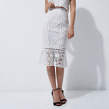 White lace peplum hem pencil skirt - Skirts - Sale - women