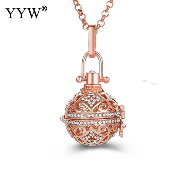 YYW Round Shape Perfume Aromatherapy Pendant Essential Oil Diffuser Locket Cage Necklace Pendant For Women Gift Jewelry Gift