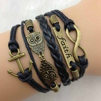 ABC 1 pcs Vintage Antique Bronze Anchor Rudder Owl Charms Leather Rope Bracelet Wristband