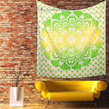 Ombre Wall Hanging Bedding Bohemian Bedspread Yellow & Green  Indian Mandala Hippie Tapestry Ethnic Decor