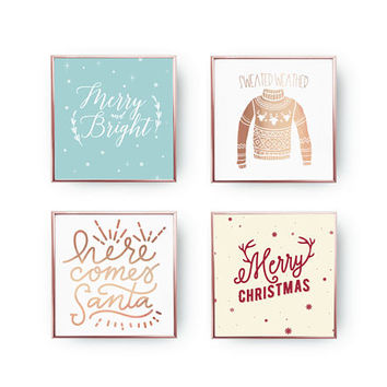 Here Comes Santa, Real Gold Foil, SET of 4 Prints, Holiday Sign, Xmas Wall Art, Sweater Weather, Christmas Decor, Christmas Print, Xmas Gift