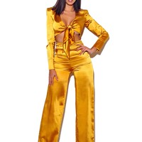 Nellie Wide Leg Satin Ruched High Waisted Pants