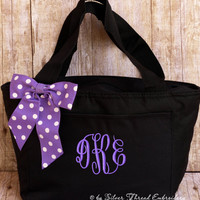 Personalized Lunch Bag Polka Dots Insulated Monogrammed School Box Cooler