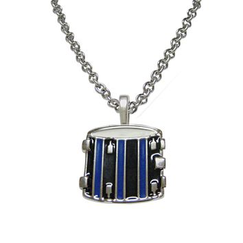 Blue and Black Toned Drum Musical Instrument Necklace
