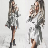 Grey Notched Collar Knot Waist Blazer