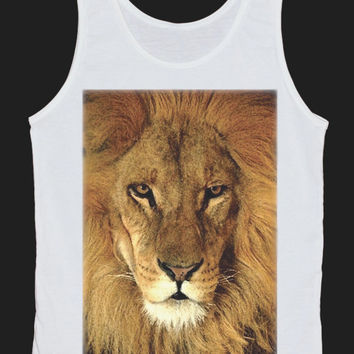 Lion Head Wild Animal Tank Top Women Tops White Tee Shirt Tank Tops Size XS, S, M, L