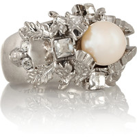 Alexander McQueen | Silver-plated, Swarovski crystal and faux pearl ring | NET-A-PORTER.COM