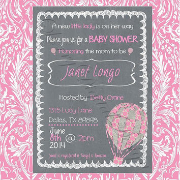 Printable Baby Shower Invite Pink Chalkboard Hot Air Balloon Printable invitations for Wedding, Shower, Birthday, Party, any occasion