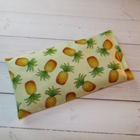 Aromatherapy Eye Pillow - Flax Seed & Lavender - yellow green pineapples - yoga