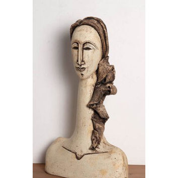 Ceramic Sculpture beautiful spaniard young woman with bust sculpture with long neck