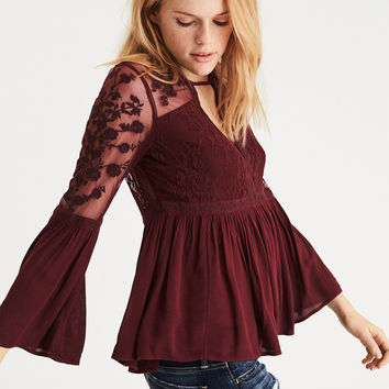 AE Embroidered Mesh Bell-Sleeve Top, Burgundy