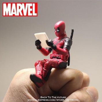 Deadpool Dead pool Taco Disney Marvel X-Men  2 Action Figure Sitting Posture Model Anime Mini Doll Decoration PVC Collection Figurine Toys model AT_70_6