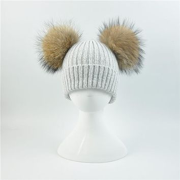 2017 Baby Girls Boys Beanie Hat Children Winter Hat With 2 Two Real Raccoon Fur Pompom Kids Knitted Beanie Baby Fur Pompon Cap