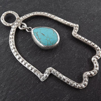 Large Dotted Cut Out Hamsa Hand Pendant With Dangle Turquoise Stone Tear Drop  Matte Silver Plated Turkish Jewelry Making Supply - 1pc