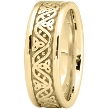 Wedding Band - Celtic Wave Mens Wedding Ring in Yellow Gold