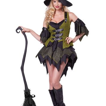 Tattered Bewitching Babe Dress Costume (X-Large,Black/Green)