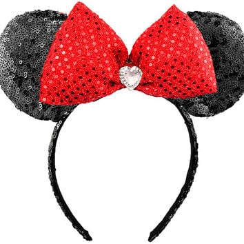 Minnie Mouse Ears Sequin Disney Ears Red Sequin Minnie Mouse Bow Sequin Minnie Ears Black Minnie Bow Sequin Mickey Mouse Ears Mickey Ears