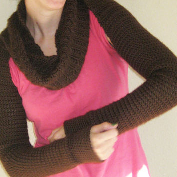 Crochet Twist Scarf Coverup Long-Sleeved Size Medium