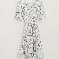 Slit Neckline Big Flower Dress, Grey