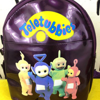 90s Teletubbies Purple Metallic Vinyl Mini Backpack / Spice Girls / Club Kid / Clueless / Cyber /