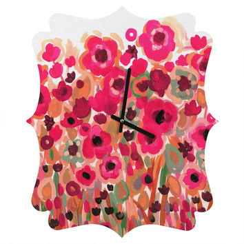 Natasha Wescoat Brightly Blooming Quatrefoil Clock