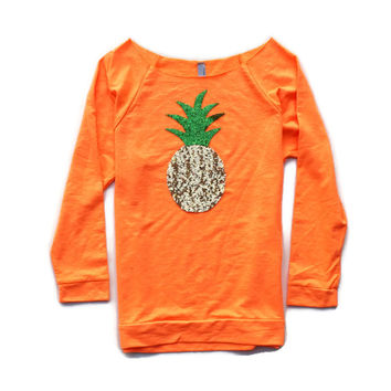 Sequin Pineapple 3/4 Sleeve Sweatshirt Jumper - Orange Cream