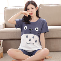 2017 New Women Summer Sleepwear Cartoon Breathable 100% Cotton Pijama Totoro Female Casual T-shirt & Shorts Animal Pajama Sets