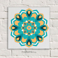 "Canvas print Ready to hang MANDALA, Art Wall Decor, Bedroom Painting, Home Decor Wall, Art Home & Living Room 7.8""x7.8"""