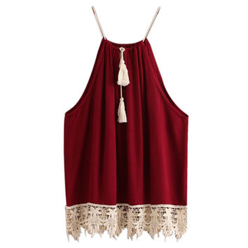 Woman Sexy Spaghetti Strap Tank Top Summer 2016 Backless Lace Trimmed Tasselled Drawstring Neck Camisole Plus Size Cami Tank