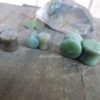 "Green Agate Stone Plugs 0g Pair Natural Organic 2g Double Flared 5/8"" Gemstone Earrings 00g Gauges Stretched Earlobes 1/2"" Ear Plug 