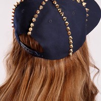 Navy Gold Spike Studded Hat