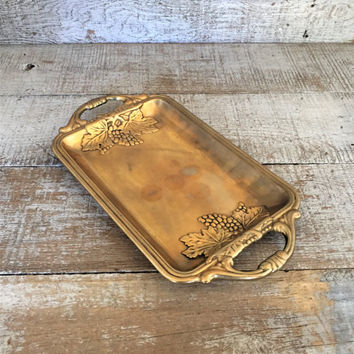 Brass Tray with Handles Small Brass Serving Tray Wine and Cheese Tray Vintage Brass Wedding Decor Small Centerpiece Base Grape Leaf Servware