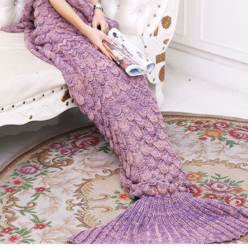 Quilt Mermaid blanket tail fleece throw plush plaid On sofa Bed fluffy bedspreads covers bed knitted Air condition adult blanket