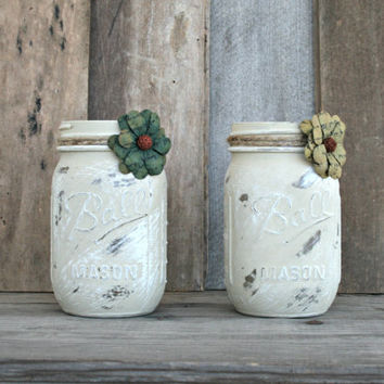 Home and Wedding Decor - Annie Sloan Chalk Paint Country Grey, Distressed Mason Jar, Vase or Organization