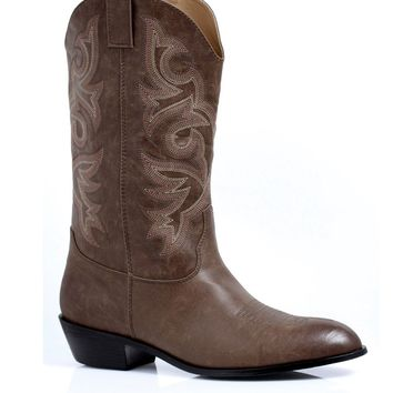 Men's 1.5 Inch Heel Cowboy Boot (Medium,Brown Pu)