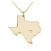 State Necklace Texas State Charm Necklace 18k Gold State Necklace With A Heart