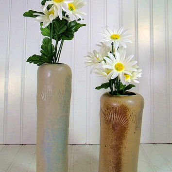 Set of 2 Funky Primitive Pottery Vases - Vintage Handmade Rustic Ceramics - Shabby Sea Shell Beach Brown Glaze
