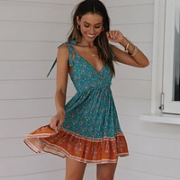 Deep V-Neck Sleeveless Dress Green Floral Print Boho Dresses Hollow Back Sexy Beach Dress Short Women Dresses