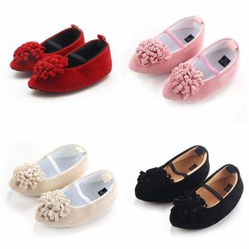 Newborn Baby Shoes Kids Girls Flower Princess Shoes PU Leather Shoes Prewalkers