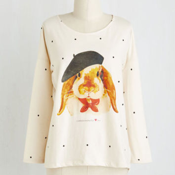 Quirky Mid-length Long Sleeve Little Bunny Frou Frou Top
