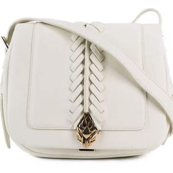 Roberto Cavalli Women's White Leather Small Cross-body Saddle Bag~RTL$1840~NWT