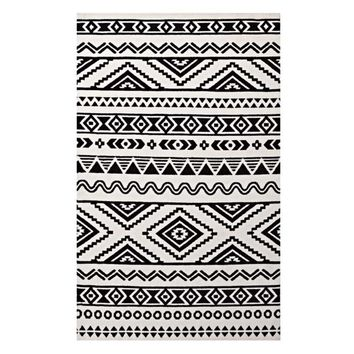 Haku Geometric Moroccan Tribal 5x8 Area Rug, Black and White -Modway