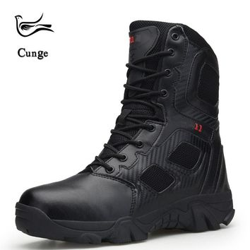 Men Outdoor Hiking Boot Shoes Army Military Tactical Desert Boots Combat Ankle Boots Breathable Leather Antiskid Boots Shoes