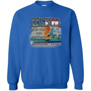 UNITED STATES NAVY : DESTROYER STYLE : G180 Gildan Crewneck Pullover Sweatshirt  8 oz.