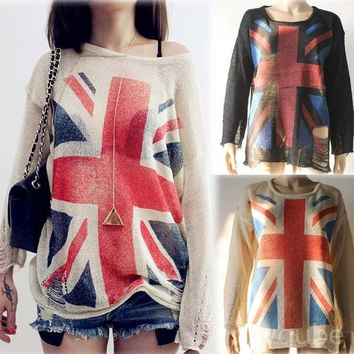 Excellent Casual Jumpers Crew Neck  Long sleeve Pullover National Flag Pattern Tore Holes Women Knitted Sweater = 1695569604