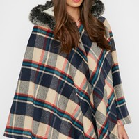 Jude Tartan Poncho with Fur Lined Hood - Ponchos - PrettyLittleThing | PrettyLittleThing.com
