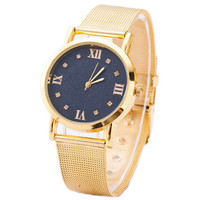 Womens Girls Classic Sport Casual Gold Strap Watch