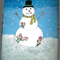 BOGO Sale Roses Snowman Painting Acrylics on Canvas Winter Abstract Art