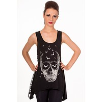 Banned Gothic Death Skull & Bat w/ Sheer Skull Lace Back Flare Tank Top